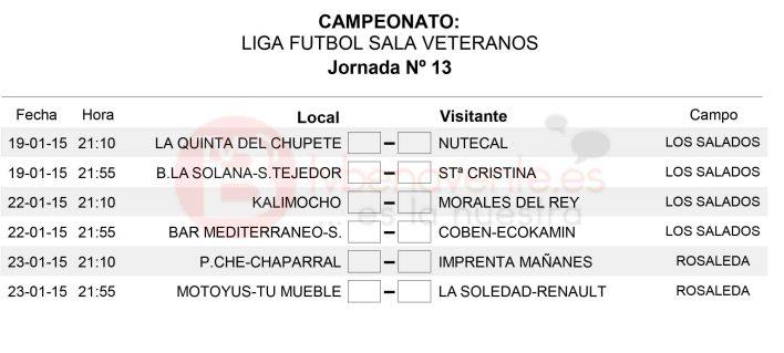 Liga Veteranos futbol sala - horarios jornada 13