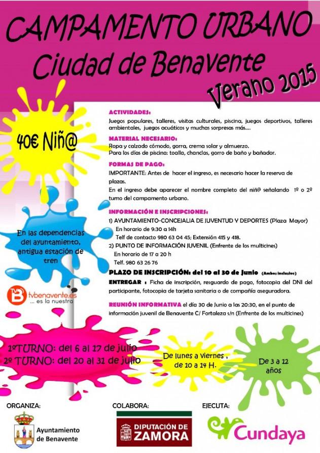 cartel CAMPAMENTO URBANO BENAVENTE 2015