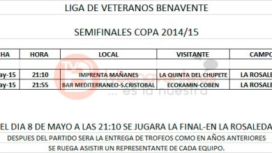 Photo of SEMIFINALES COPA DE VETERANOS FÚBOL SALA BENAVENTE 2015