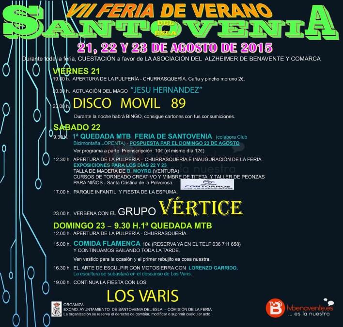 Cartel FERIA DE SANTOVENIA 2015 - SIN