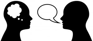 Vector illustration of people who think and talk, simbol or icon of head with thought and speach bubble
