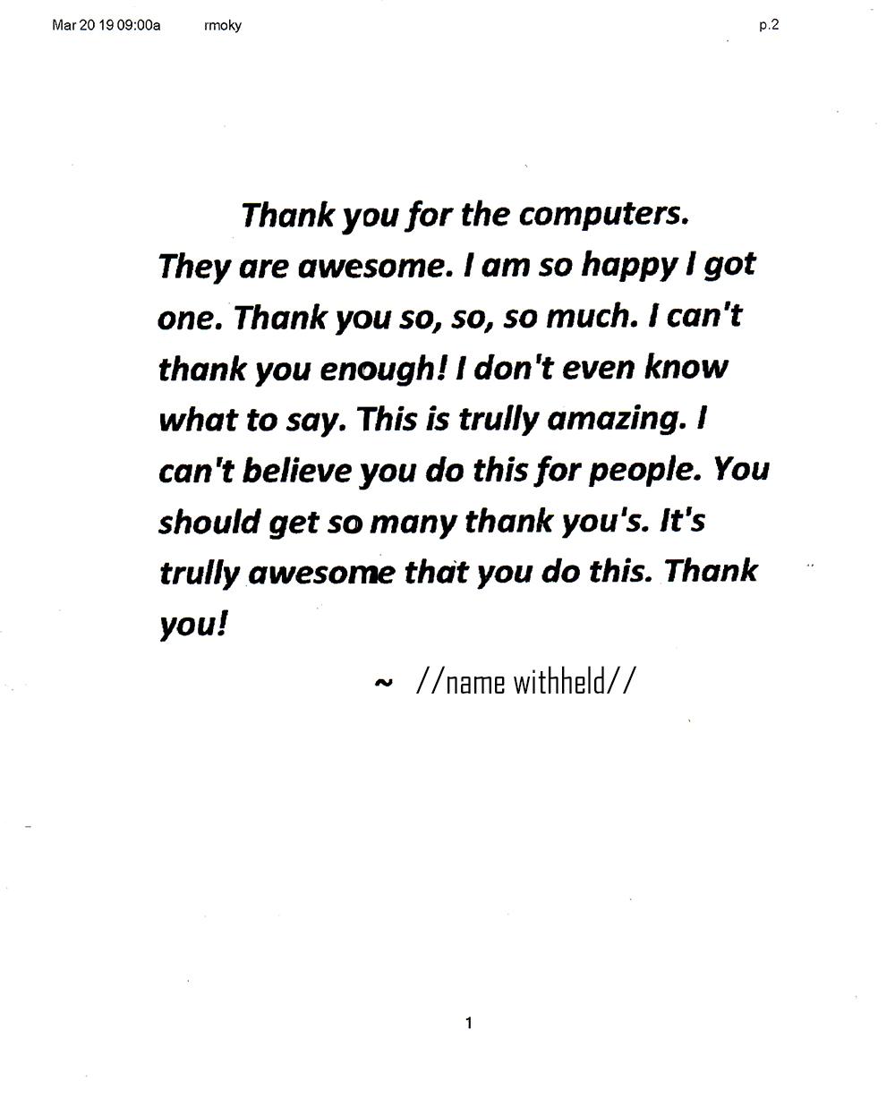 TAP Letter of Appreciation