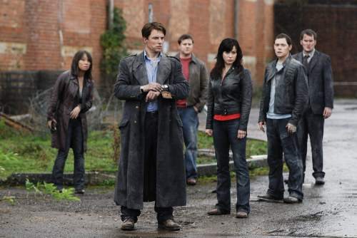 Torchwood - Naoko Mori as Tosh, John Barrowman as Captain Jack Harkness, Kai Owen as Rhys, Eve Myles as Gwen, Burn Gorman as Owen and Gareth David-Lloyd as Ianto