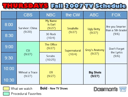 Daemon's TV Thursdays TV Schedule Fall 2007