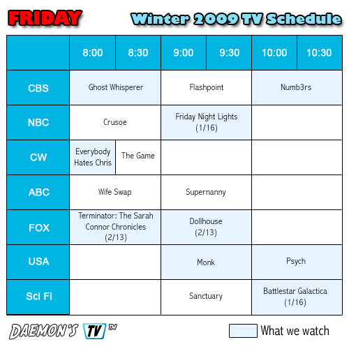 Fridays TV Schedule