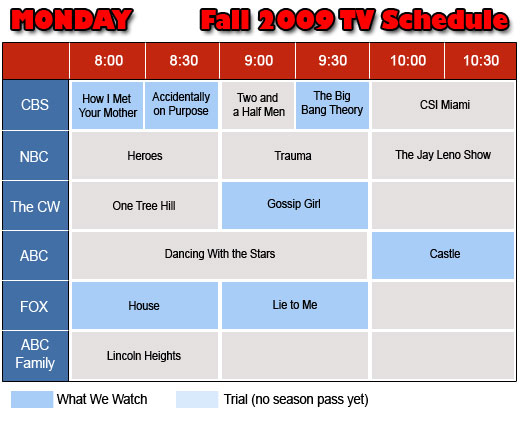 Mondays TV Schedule