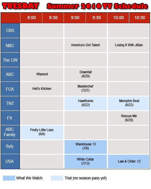 Tuesdays TV Schedule