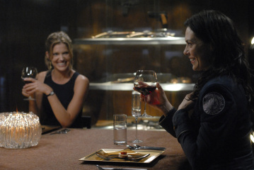 "BATTLESTAR GALACTICA - Tricia Helfer as Gina and Michelle Forbes as Admiral Cain in ""Razor"""