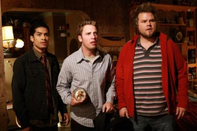 "REAPER - Rick Gonzalez as Ben, Bret Harrison as Sam, and Tyler Labine as Bert ""Sock"""