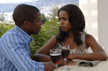 "PSYCH - Dule Hill as Burton ""Gus"" Guster and Kerry Washington as Mira in ""There's Something About Mira"""