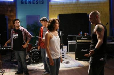 ONE TREE HILL - Kate Voegele as Mia, Legree Graham as bassist, Preston Tapia as drummer, Bethany Joy Galeotti as Haley James Scott, and Kevin Federline as Jason in