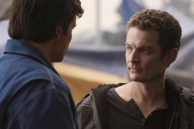 """SMALLVILLE - Tom Welling as Clark Kent and James Marsters as Brainiac in """"Persona"""""""