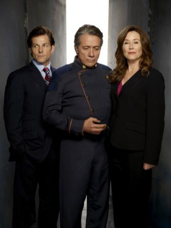 "BATTLESTAR GALACTICA - Jamie Bamber as Lee ""Apollo"" Adama, Edward James Olmos as Admiral William Adama, Mary McDonnell as Laura Roslin"