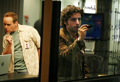"NUMB3RS - Peter MacNicol as Larry and David Krumholtz as Charlie in ""Black Swan"""
