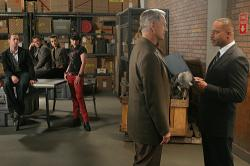 Sean Murray, Michael Weatherly, Cote de Pablo, Pauley Perrette, Mark Harmon, and guest star Rocky Carroll