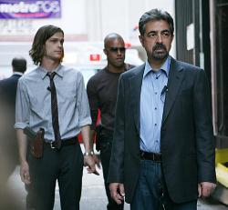 Agents Reid (Matthew Gray Gubler), Morgan (Shemar Moore) and Rossi (Joe Mantegna)