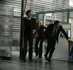 Dr. Sweets (John Francis Daley), Brennan (Emily Deschanel) and Booth (David Boreanaz)