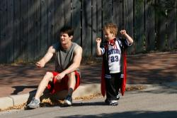 James Lafferty as Nathan and Jackson Brundage as Jamie