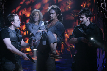 David Hewlett as Dr. Rodney McKay, Rachel Luttrell as Teyla Emmagan, Jason Momoa as Ronon Dex, and Joe Flanigan as LT. Col. John Sheppard
