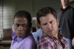 """Psych - Dule Hill as Burton \""""Gus\"""" Guster, James Roday as Sean Spencer"""