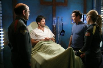 Stargate Atlantis - Robert Picardo as Agent Richard Woolsey, Joe Flanigan as Lt. Col. John Sheppard, Paul McGillion as Dr. Beckett, Jewel Staite as Dr. Jennifer Keller