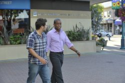 "James Roday as Shawn Spencer, Dule Hill as Burton ""Gus\"" Guster"