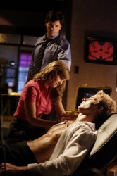 Smallville - Tom Welling as Clark Kent, Erica Durance as Lois Lane, and Justin Hartley as Oliver Queen