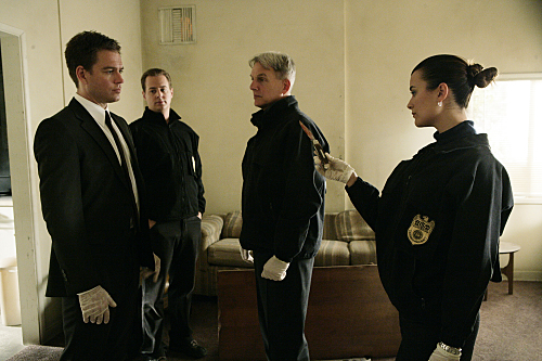 DiNozzo (Michael Weatherly, with Sean Murray, Mark Harmon and Cote de Pablo, left to right) and Gibbs