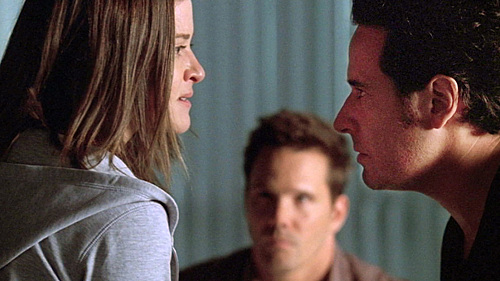 Piper (Sarah Drew) is confronted by Colby (Dylan Bruno) and Don (Rob Morrow) - Numb3rs