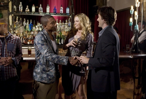 Musical Guest Pharrell Williams from N.E.R.D. with Sara Foster as Jen and Ryan Eggold as Ryan Reynolds