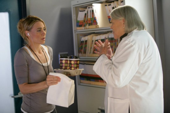 Deanne Bray as Emma, Louise Fletcher as Dr. Coolidge on Heroes