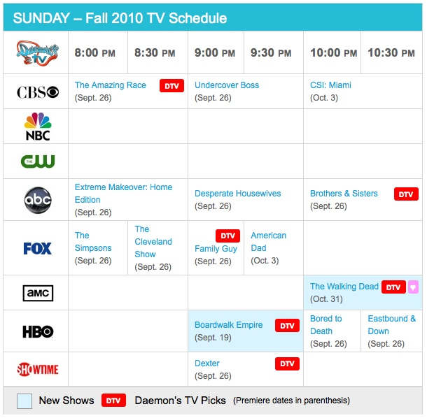 Sunday Fall 2010 TV Daily Schedule - Daemon's TV
