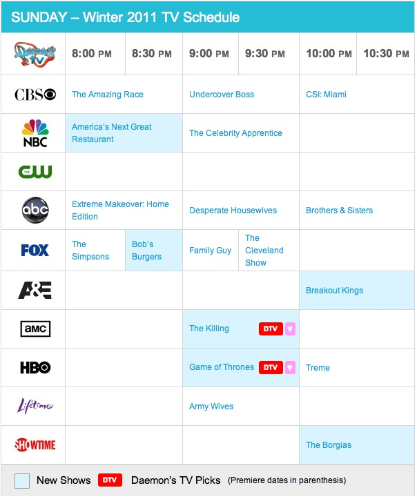 Sunday Spring 2011 TV Daily Schedule - Daemon's TV