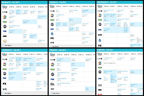 fall 2011 daily tv schedule grid
