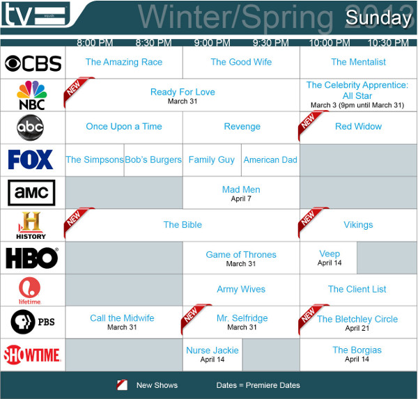 TV Schedules Winter Spring 2013 Sunday 2