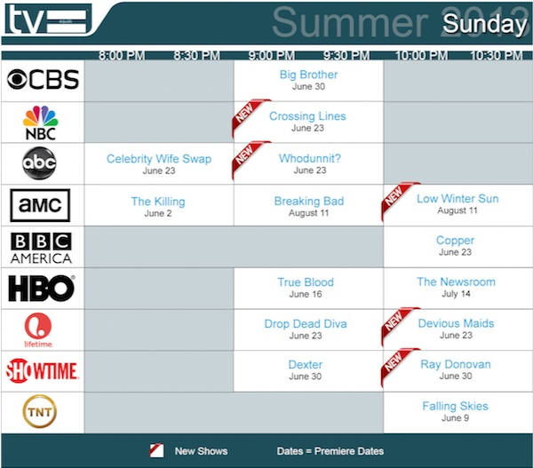 TV Equals Schedules Summer 2013 Sunday