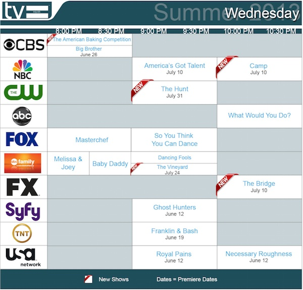 TV Equals Schedules Summer 2013 Wednesday
