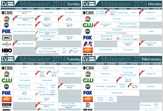 tv equals midseason 2014 daily schedules