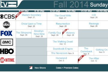 TV Schedules Fall 2014 Sunday