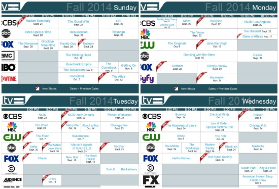 fall 2014 daily schedules tv equals
