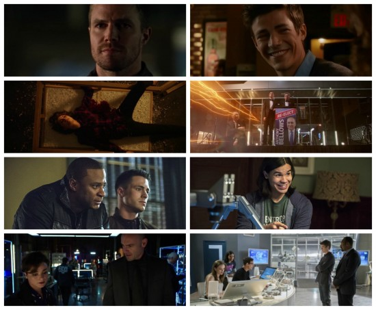 Oliver, Diggle, Roy, Thea, Lance - Arrow, Barry, Cisco, Caitlin, Joe, Wells, Tricksters - The Flash