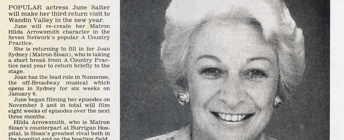 """TV Week: """"June returns to Wandin Valley"""" A Country Practice 15th November 1986"""