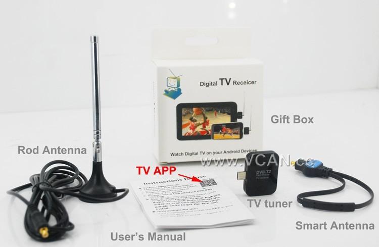 New DVB-T TV Tuner Micro USB Digital Satellite TV Receiver Dongle Tablet