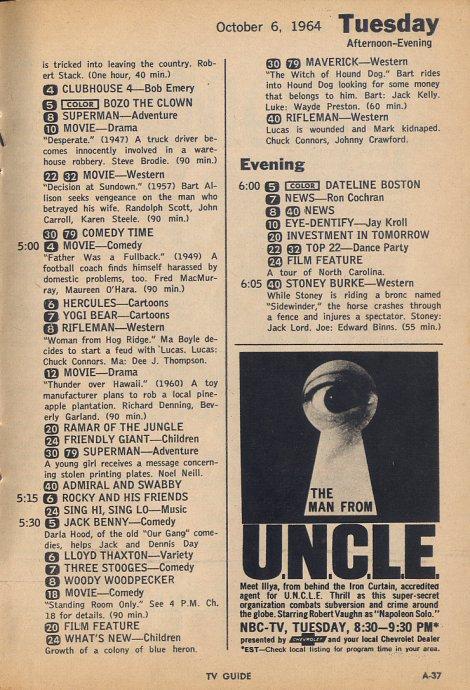 Bookshelf TV Guide October 3rd 1964 Edition