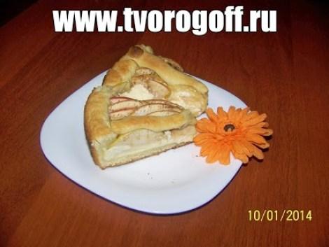 Песочный пирог с творогом и яблоками на маргарине. Пирог с творогом.