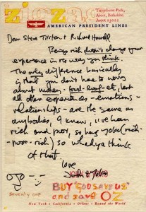 La lettre de John Lennon à Steve Tilston (Cliquez pour agrandir)