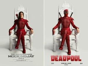 L'affiche officielle du film The Hunger Games: Mockingjay - Part 2 a aussitôt inspiré une affiche humoristique du film Deadpool