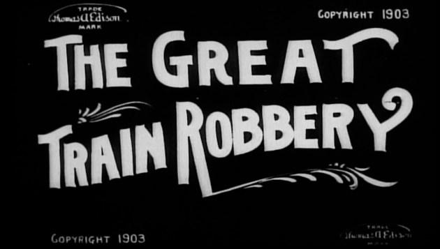 Le carton introductif du western The Great Train Robbery réalisé par Edwin S. Porter en 1903