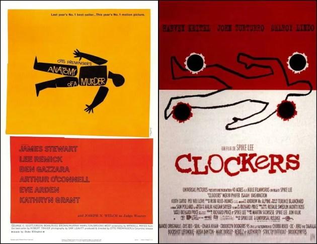 Les ressemblances entre les affiches d'Anatomy of a Murder (1959) et Clockers (1995) sont évidentes...