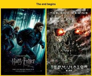 The end begins : Harry Potter and the Deathly Hallows: Part 1 (2010) vole le tagline de Terminator Salvation (2009)...
